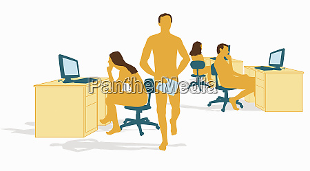 nude business people working in office