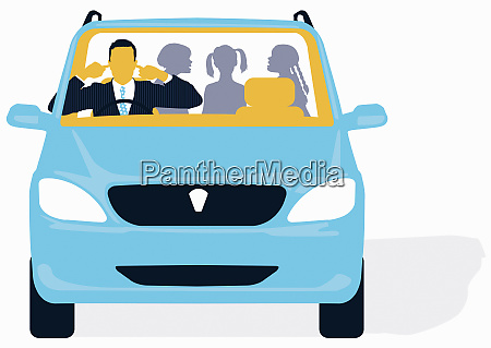 businessman plugging ears in car with