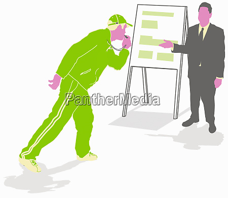 businessman practicing presentation with coach