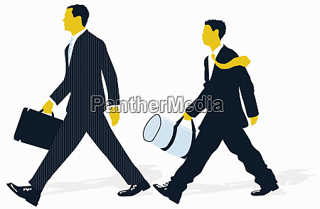 young businessman with gym bag following