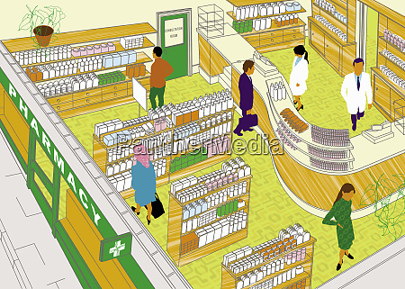 pharmacists and customers in drugstore