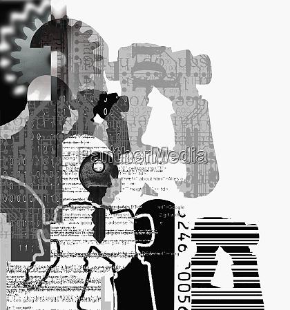 collage of man with binoculars key