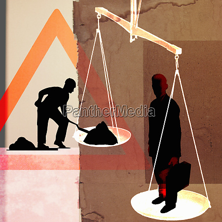 businessman and manual laborer on opposite