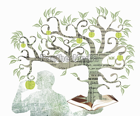 man eating apple from the tree