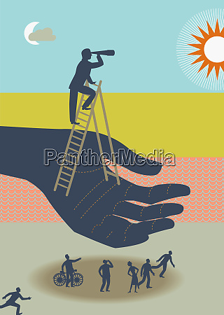 hand holding man on ladder using