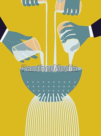 businessmen pouring liquid into colander
