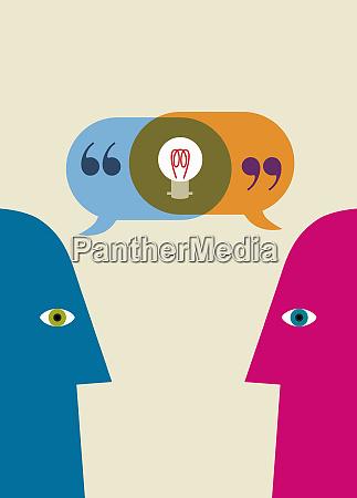 light bulb inside of overlapping speech