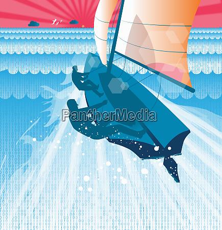 men sailing yacht through binary code