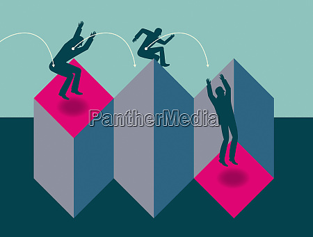 businessman jumping over obstacles