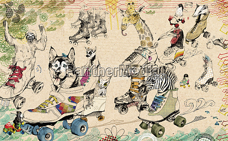 animals riding in roller skates