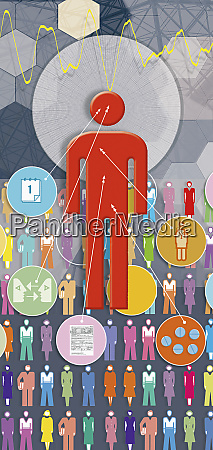 person with circles of information