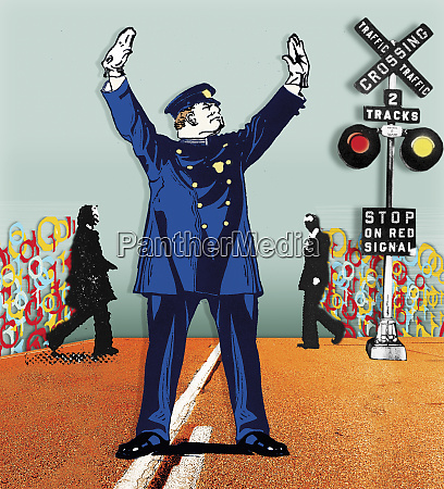 policeman stopping traffic at railroad crossing
