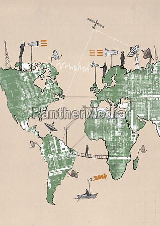 businessmen on world map using global