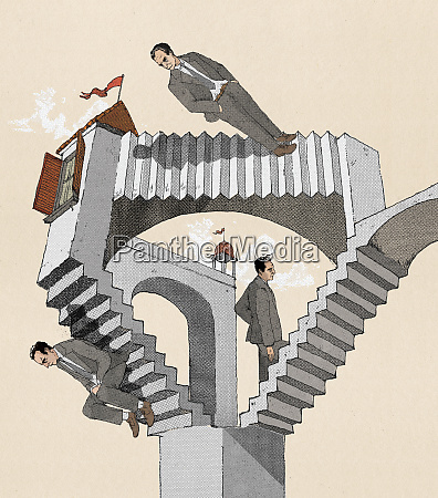 businessman trapped in optical illusion