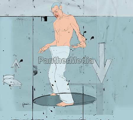 man looking in pants