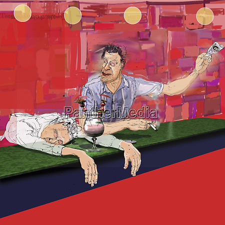 man drinking at bar