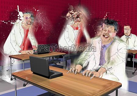 stressed businessmen in office