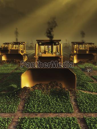 bulldozers destroying crops