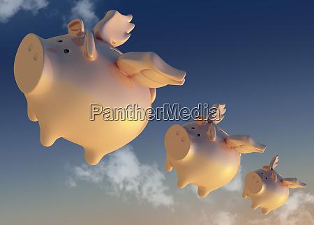 flying piggy banks