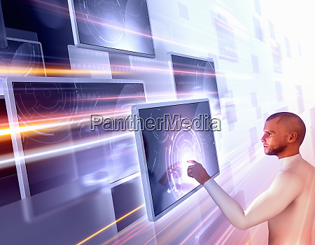 man using touch screen technology