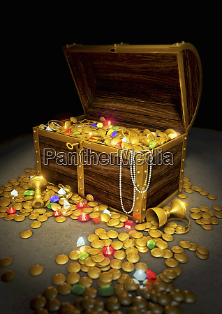 gold coins and jewels spilling from