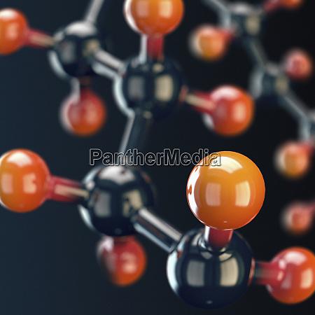 close up of shiny molecular model