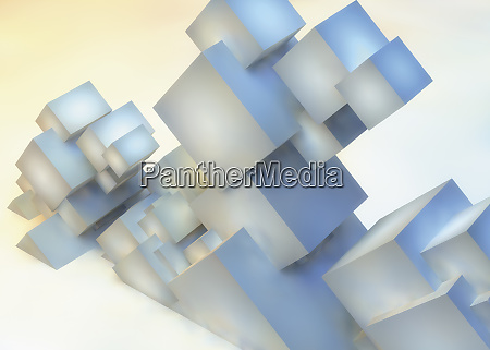 abstract sculpture of slanting cube building