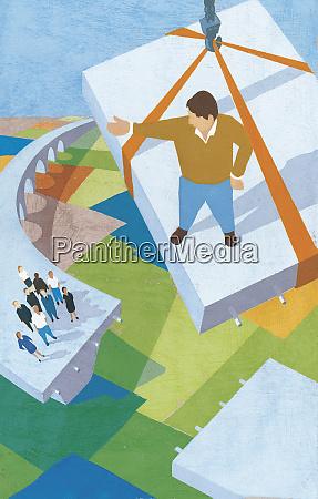 man descending on final piece of