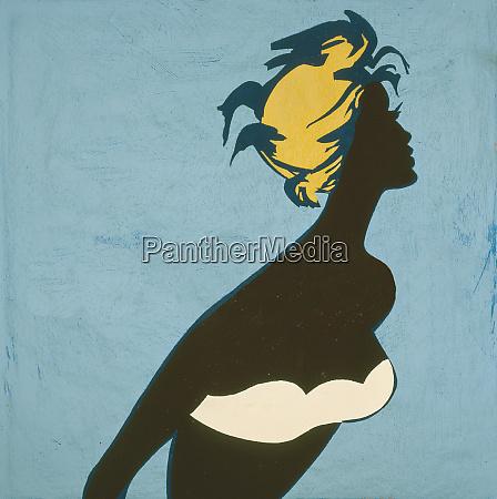 woman in bikini and old fashioned