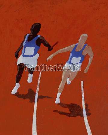 runner handing off baton to teammate