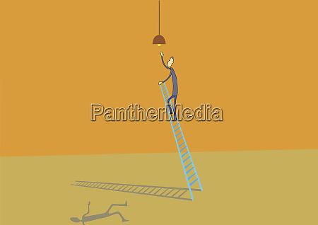 man climbing ladder to change light