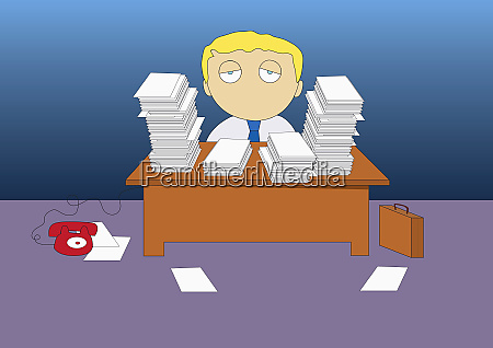 businessman sitting with stacks of paperwork