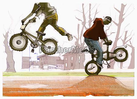 boys riding bicycles