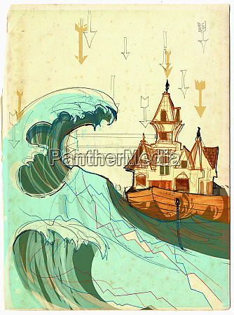 house in boat on stormy sea
