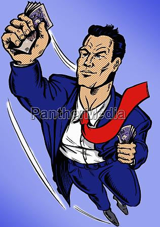 superhero businessman flying clutching handfuls of