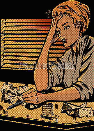 stressed woman working late with crumpled