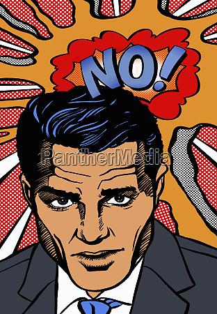 serious businessman saying no