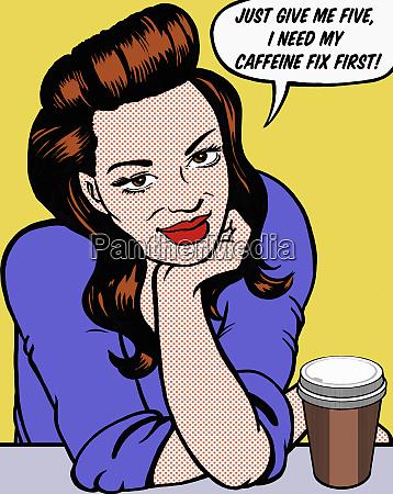 woman taking coffee break from work