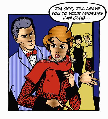 jealous woman leaving boyfriend at party