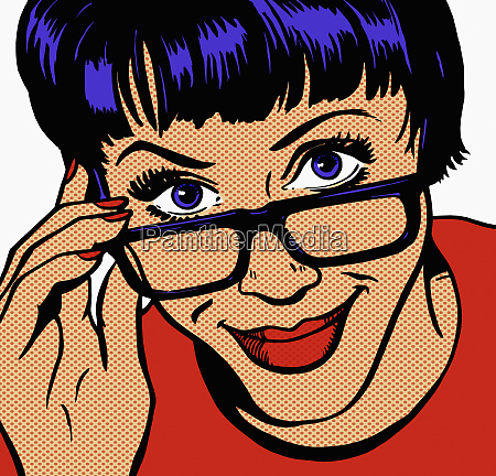 close up of woman adjusting glasses