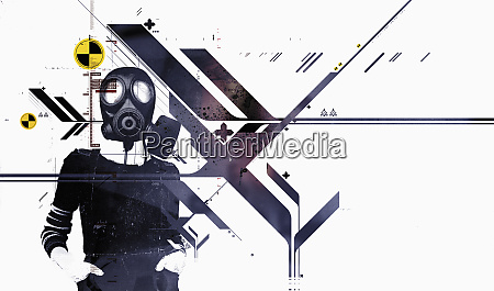 person standing in gas mask