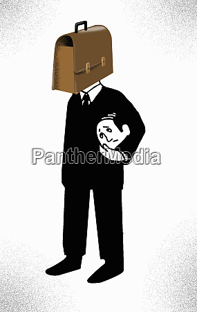 anxious businessman carrying head under arm