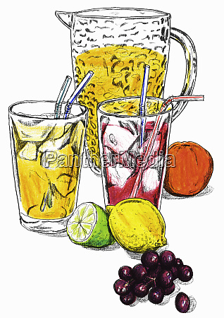 variety of fresh fruit juices