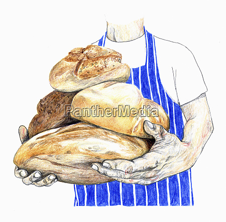 artisan baker holding armful of loaves