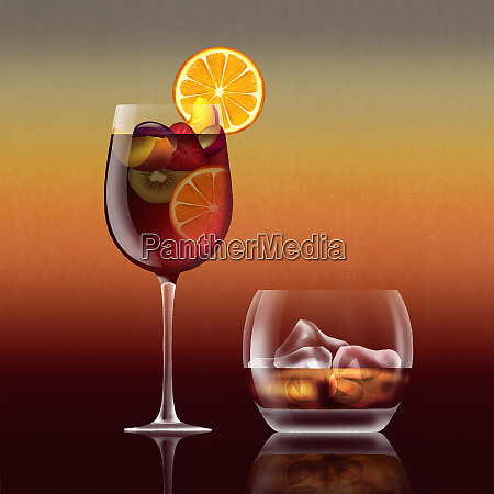 glass of sangria cocktail and tumbler