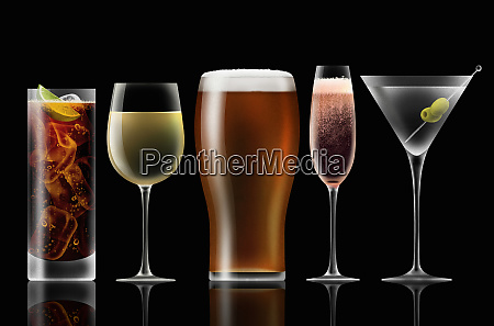 range of different alcoholic drinks in