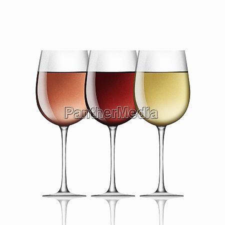 glasses of red white and rose