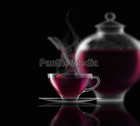 fruit tea glass teacup saucer and