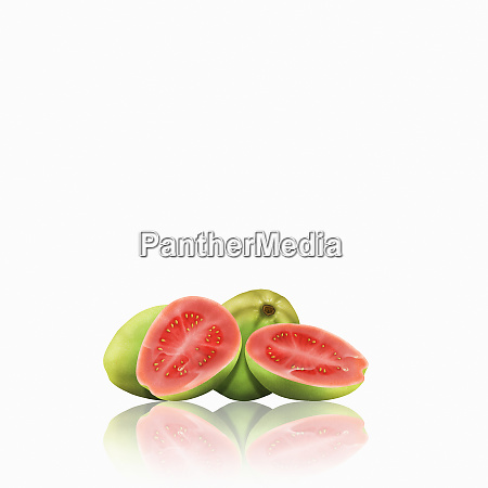 whole and cut guavas