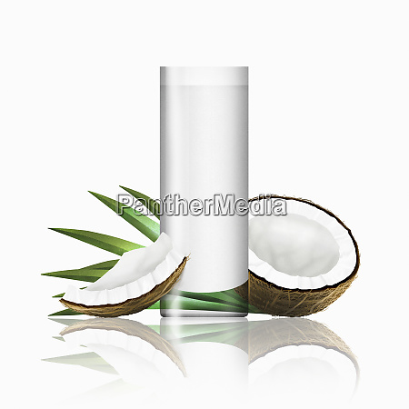 glass of coconut milk with pieces